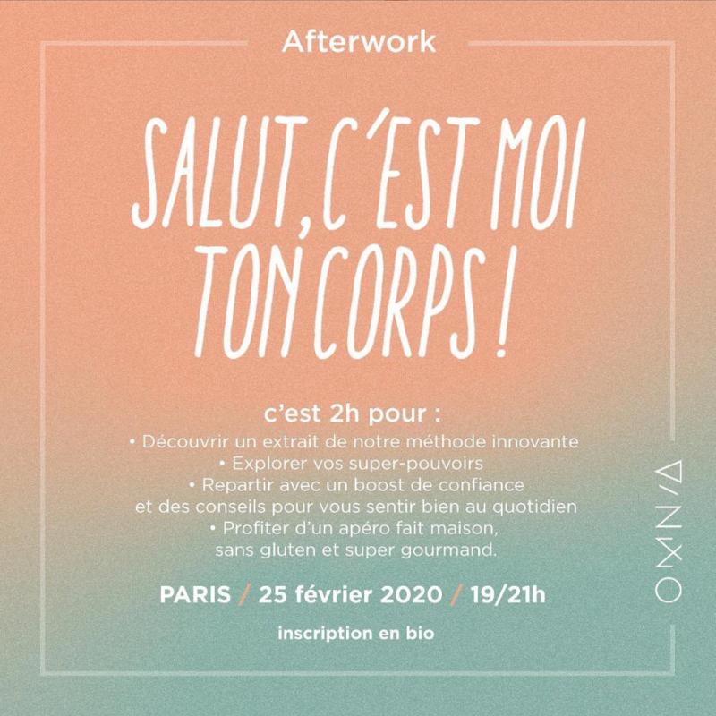 Afterwork «Salut c'est moi ton corps» le 25 Février à Paris